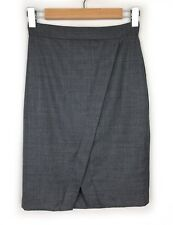 Rhodes & Beckett Grey Wool Pencil Skirt Size 4 Wrap Front Work Career Womens