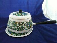 Vintage Retro Enamel Ware Pot Pan with Lid Blue Paisley Matching Trivit