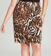 Karen Kane Plus Size Brown Leopard/Cheetah Jersey Pencil Skirt, 3X - MSRP $98