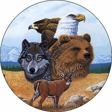 Gathering of Spirits Wolf Eagle Bear Deer Spare Tire Cover Camper RV (all sizes)