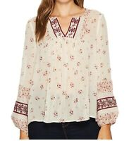 Joie Joleta Blouse S Embroidered Lace Floral Silk V-Neck Long Sleeve Peasant Top