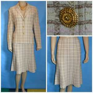 ST. JOHN COLLECTION KNITS Cream Beige Jacket Skirt L 10 12 2pc Suit Gold Buttons