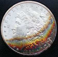 1884-CC Morgan Silver Dollar GSA MS-63 Star (Vibrant Rainbow Toning)