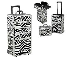 Makeup Travel Case Box Large Cosmetic Trolley Storage Beauty Nail Carry Zebra