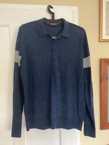 Mens John Smedley Merino wool button-neck jumper. Size: Large. Navy blue.