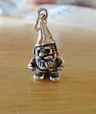 Sterling Silver 3D 22x11mm Gnome Elf Carrying Shovel Garden Charm