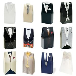 Tuxedo Wedding Dress Favour Boxes Gift - 10 Pack 50x30x100mm
