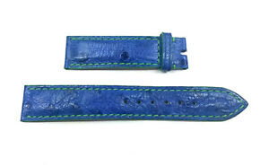 17mm x 16mm Blue Ostrich Rolex Band with Green Stitching