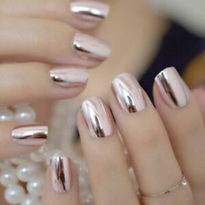 Mirror Pointed Metallic False Nail Women's Solid Patterns Acrylic Press-On Nails