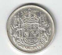 CANADA 1958 DOT 50 CENT HALF DOLLAR QUEEN ELIZABETH CANADIAN .800 SILVER COIN