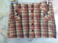 J Crew Check Plaid Mini Skirt Size 12 Button Front