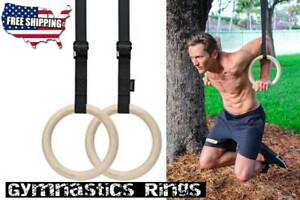 2 Wooden Gymnastic Olympic Rings Crossfit Gym Fitness Training Exercise - SALE!!