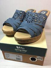 Women's Spring Step Dora  Italian Leather Sandals Slides Heels Blue Sz 9.5-10
