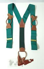 "POLO RALPH LAUREN LEATHER & POLYESTER  MENS  SUSPENDERS -BRACES ""DEADSTOCK"""
