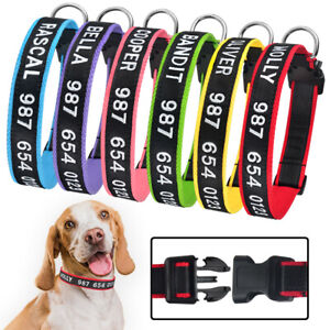 Personalized Embroidered Puppy Pet ID Name Durable Dog Collar Small Large Black