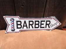 """Barber Shop This Way To Arrow Sign Directional Novelty Metal 17"""" x 5"""""""