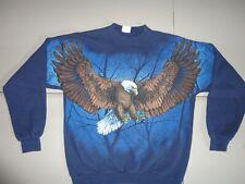 Vtg 80's Blue Santee Brand Bald Eagle 50-50 Fortel Cotton Sweatshirt Adult Xl