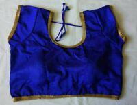Blue Polyester Silk Indian  Blouse Choli Top  Dupion Saree Bollywood BellyDance