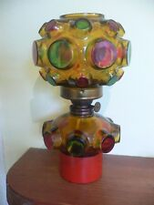 Vintage Atomic Stained Glass Oil Lamp, Mid Century