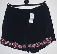 SELECT Black Floral Shorts Embroidered Elastic Waist Size for Women - 10 RRP €38
