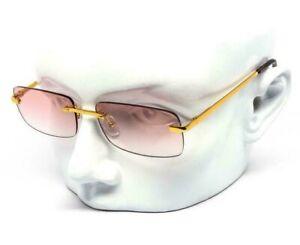 Hip Hop Rimless Gold Frame Retro Vintage Hip Hop Mens Pink Lens Glasses Migos