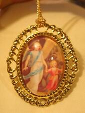 Swirled Rim Goldtone Guardian Angel with Child Bridge Cameo Necklace Brooch Pin