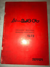 Original Ferrari  Dino 246 GTS Chassis Service Manual Abstract 1973