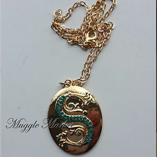 Harry Hogwarts gold slytherin snake necklace green  Horcrux Draco Voldemort
