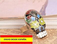 ANILLOS CALAVERA MEXICO ESMALTADO AJUSTABLE PUNK ROCK HIPPIE RASTA URBAN FASHION