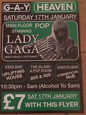 LADY GAGA-ORIGINAL JUST DANCE G-A-Y HEAVEN PROMO FLYER GAGA APPEARANCE -JOANNE