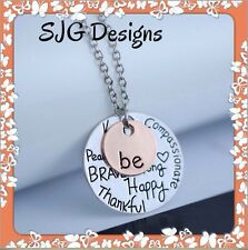 """"""" BE HAPPY"""" pendent With Rose Gold """"BE ME"""" Charm - necklace-NEW"""