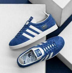 New Adidas Gazelle Vintage Shoes Athletic Soccer Skateboarding Casual Blue-White