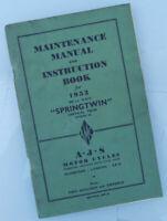 1952 AJS MOTORCYCLE ORIGINAL FACTORY MANUAL BOOK SPRINGTWIN MOD 20 MATCHLESS G9