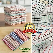 1x To 12x Pack Egyptian Cotton Super Jumbo Check Terry Tea Towels Kitchen Dish