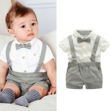 2pcs Newborn Baby Boys Outfits Clothes Short Sleeve Shirt Tops Suspenders Shorts Gray 0-6 Months