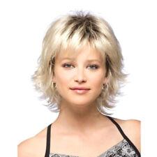Femme Fluffy Perruque Courte Blonde Bouclé Ondulé Synthétique Cheveux Complet NF