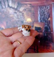 JACK RUSSELL TERRIER Dollhouse realistic OOAK miniature 1:12 handsculp.handmade