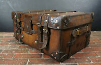 Antique Stunning Solid Leather Iron Bound Antique Boot Trunk Table Or Box