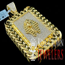 Genuine Diamond Egyptian Pharoah King Tut Miami Cuban Pendant 10K Gold Finish