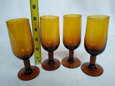 4oz Amber Stemmed Glassware Set 4 Champagne Flute Wine Shot Glass Made in Spain