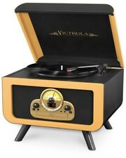 Classic Turntable Record Player Bluetooth 5-in-1 Built In CD Player Victrola