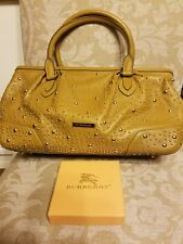 BURBERRY Mustard Olive LEATHER Gold STUDS LARGE Satchel Bag Purse BEAUTIFUL