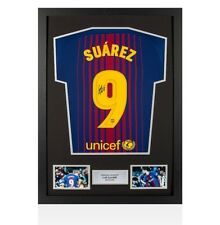 Framed Luis Suarez Signed Barcelona Shirt 2017/18 Home - Number 9 Autograph