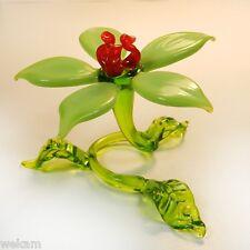 Glass Art Blown Figurine Flower Murano Style # 6462