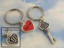 Key & heart lock key chains -silver- couples set - two keyrings- personalized