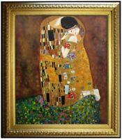 Gustav Klimt the Kiss Repro, Framed Quality Hand Painted Oil Painting, 20x24in