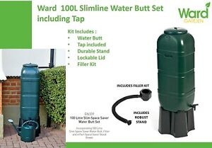 Strata Slimline Water Butt in Green Plastic with Stand and Filler Kit 100 Litre