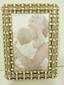 """4X6"""" Antique Style Gold Brass Purple And Clear Crystals Jeweled Picture Frame"""