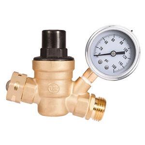 160PSI RV Water Pressure Regulator Adjustable Reducer Stainless Gauge & Filter