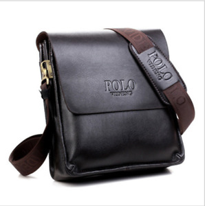 NEW Men Messenger Bag Leather POLO S Crossbody Shoulder Mens Travel Bags